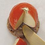 pastel de queso y glaseado de pimientos rojos de joseromero