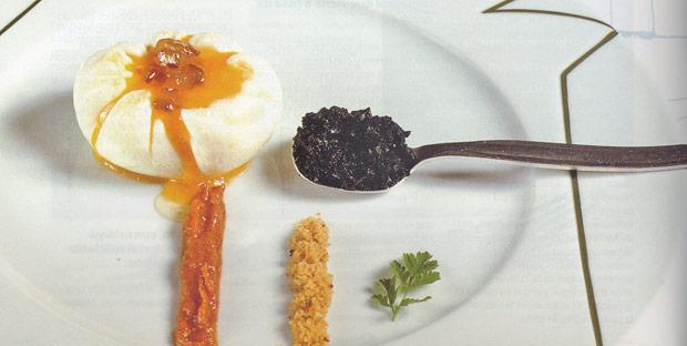 Flor de huevo y tartufo en grasa de oca con chistorra y dátiles (receta de Juan Mari Arzak)