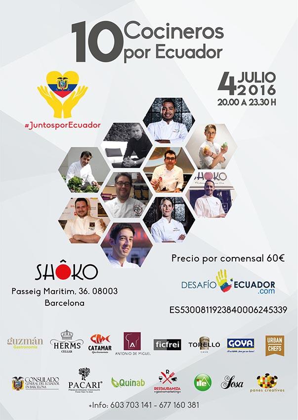 Cartel de la cena solidaria Juntos por Ecuador
