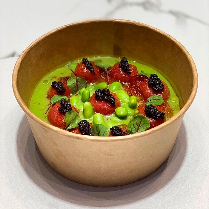 Gazpacho de tomates verdes y jalapeños